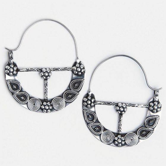 cercei mari din argint antichizat, lucrati in india