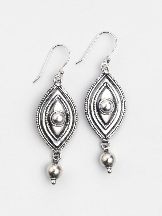 cercei lungi din argint patinat, lucrati in india