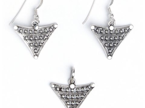 Set cercei și pandantiv argint simbolul feminității, Maroc