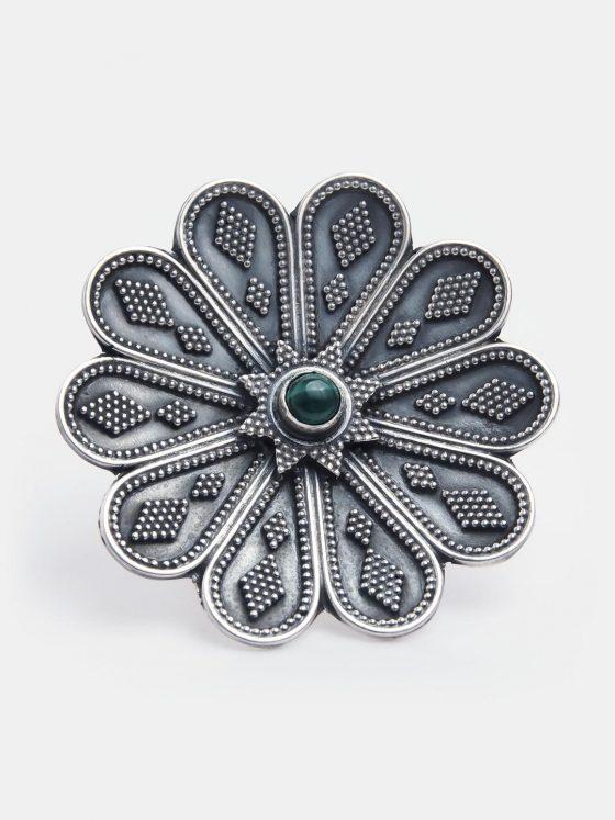 inel floare din argint si malachit verde