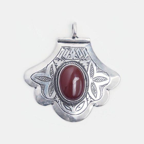 pandantiv amuleta hamsa din argint si carneol