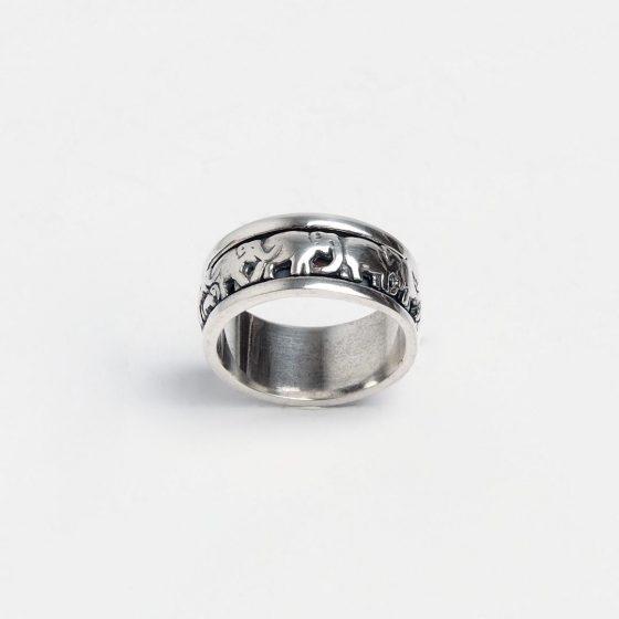 Inel din argint masiv, cu elefanti, antistress, pentru barbati