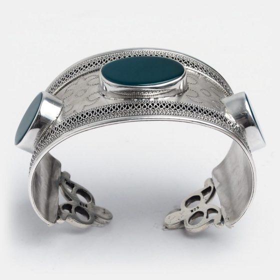 bratara statement din argint si agata verde, piatra zodiei balanta