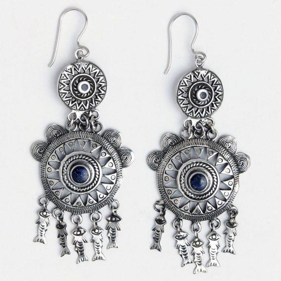 cercei candelabru din argint si lapis lazuli