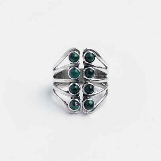 inel reglabil din argint si malachit pentru zodia balanta