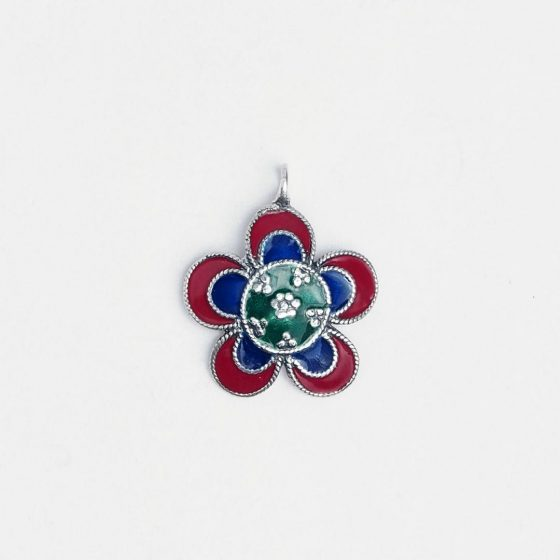 pandantiv handmade colorat floare, lucrat manual din argint, in thailanda