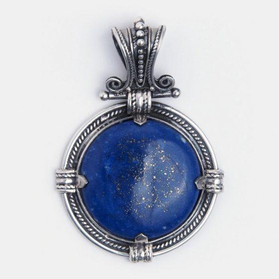 pandantiv statement din argint si lapis lazuli, piatra norocoasa a multor zodii