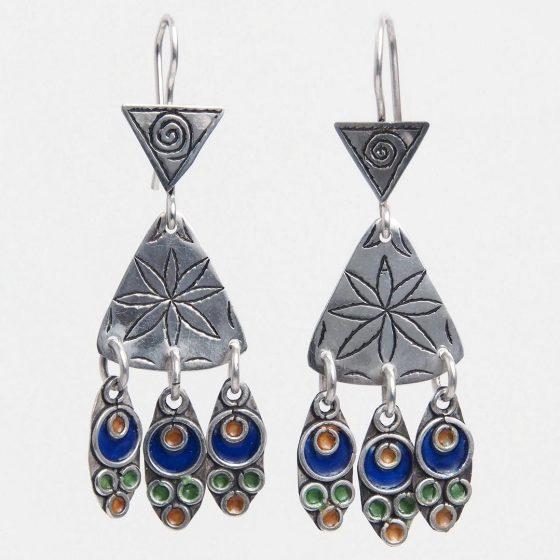 Cercei lungi candelabru din argint si email colorat, lucrati traditional si handmade in Maroc, un cadou original pentru cea mai buna prietena a ta
