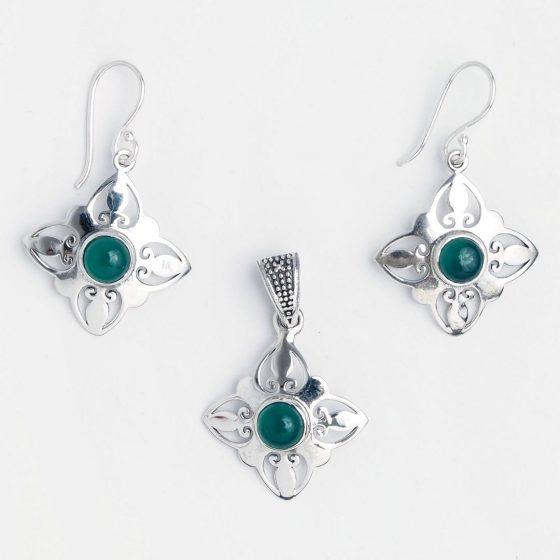 Set bijuterii din argint cu agata verde, lucrat in India
