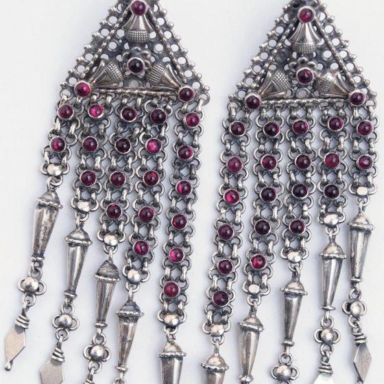 cercei-statement-argint-granata-mithra-india