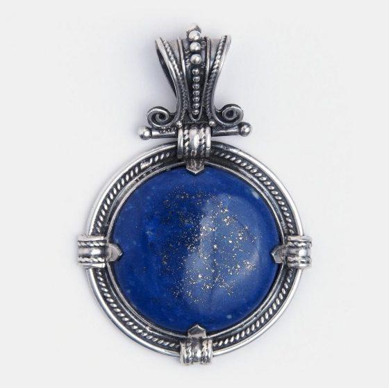 Bijuterie pandantiv din argint si lapis lazuli din India