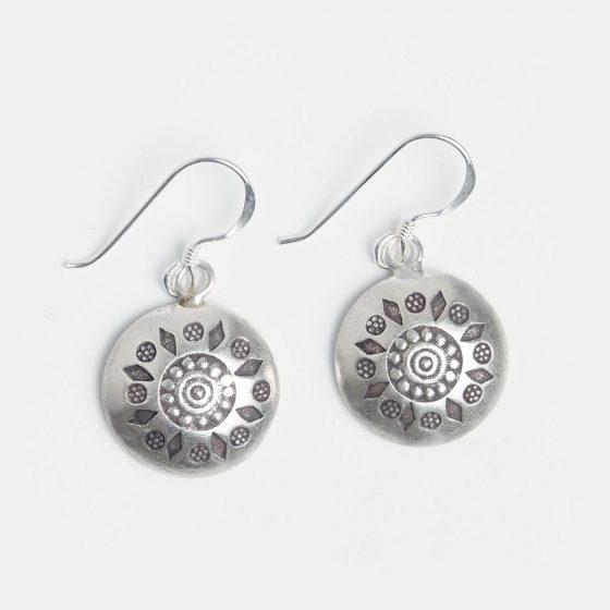 Cercei rotunzi din argint cu simboluri de vara