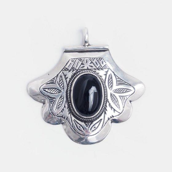 pandantiv hamsa din argint si onix negru
