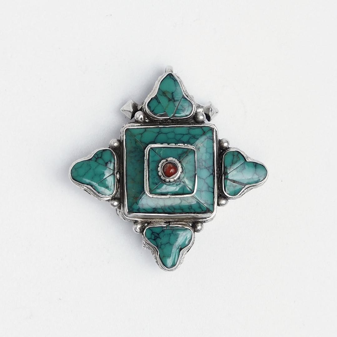 Amuletă argint și turcoaz cutiuță Gao, Nepal
