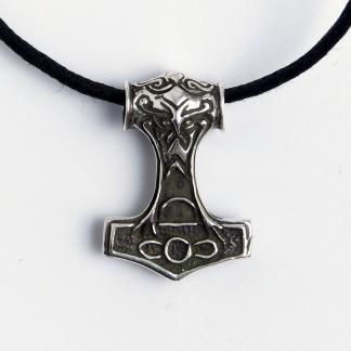 Amuletă Ciocanul lui Thor, mediu, argint, șnur negru
