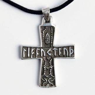 Amuletă Cruce cu scriere runică, argint, șnur negru