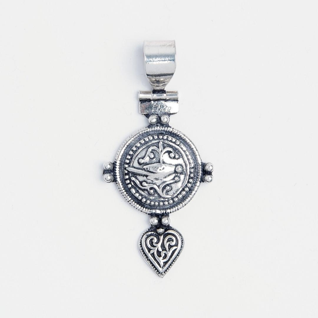 Amuletă feminină pasăre yoni, argint, India