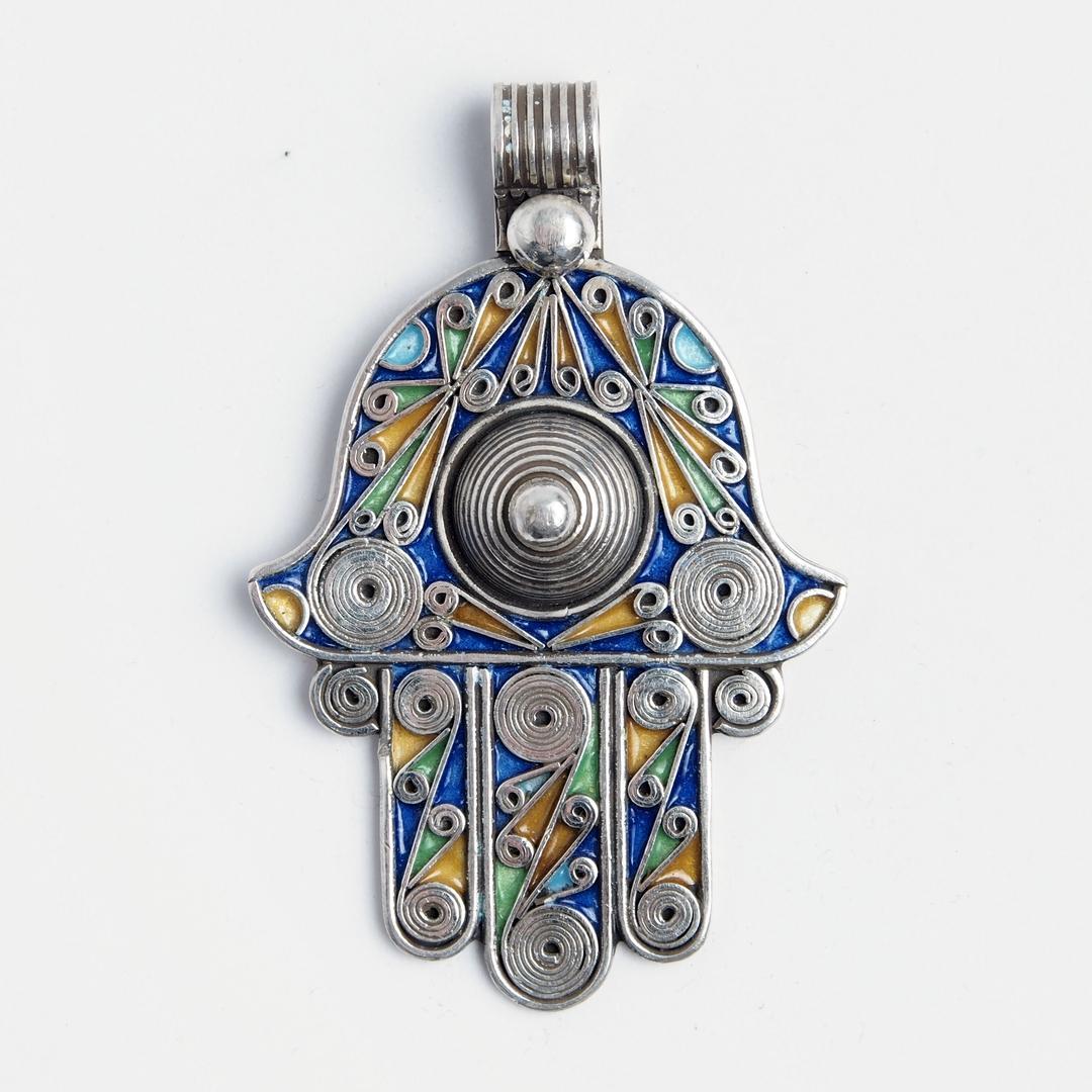 Amuletă Hamsa cu două fețe, argint și email, Maroc