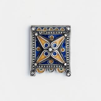 Amuleta Kitab, argint și email albastru și galben, Maroc