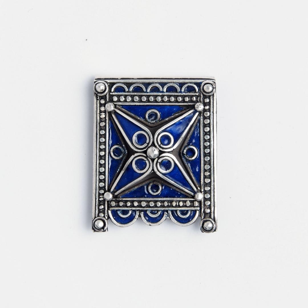 Amuletă Kitab, argint și email albastru, Maroc