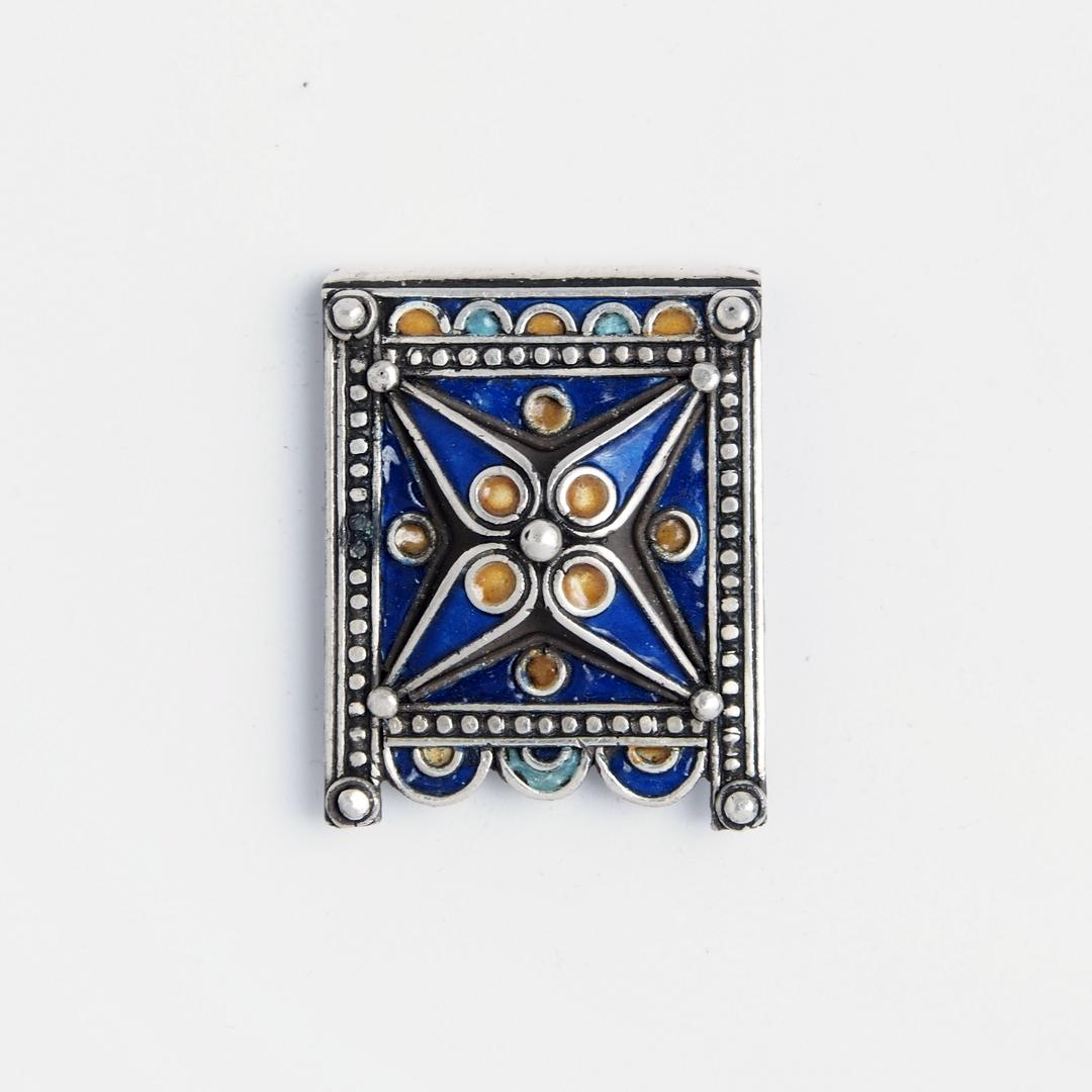 Amuletă Kitab, argint și email, Maroc