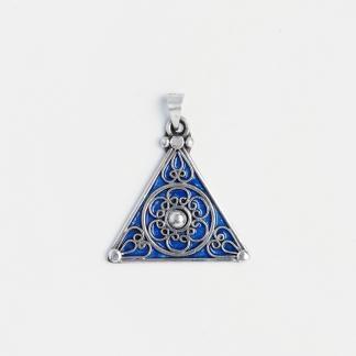 Amuletă simbolul feminintății, argint și email albastru, Maroc