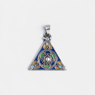 Amuletă simbolul feminintății, argint și email, Maroc