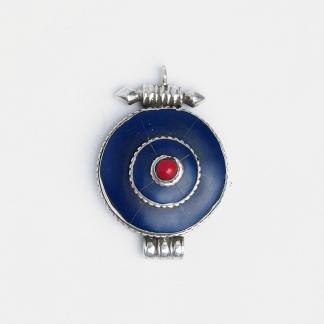 Amuletă unicat argint și lapis lazuli cutiuță Gao, Nepal