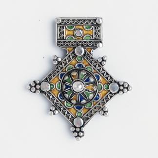 Amuletă unicat cruce de Goulimine, argint și email, Maroc
