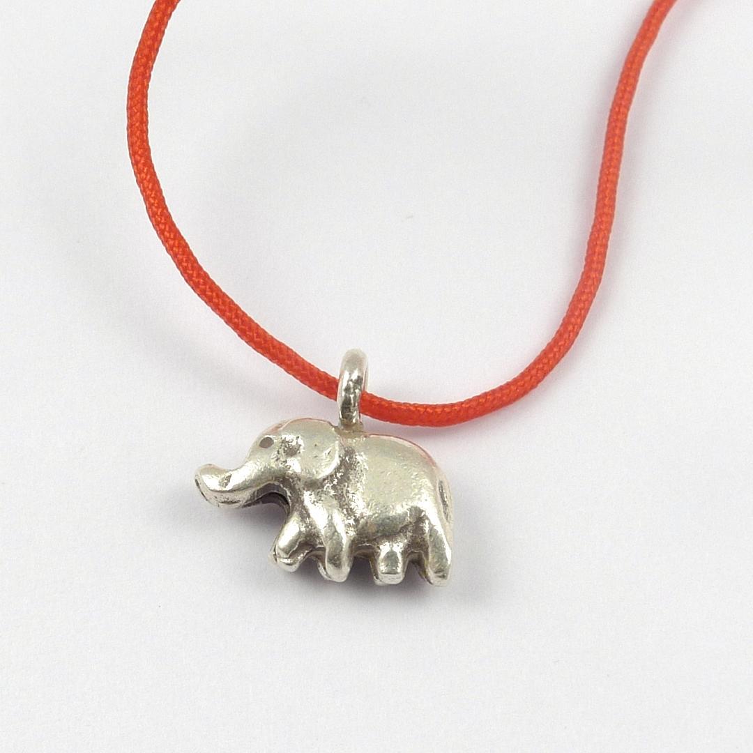 Brățară argint, elefant două fețe, fir roșu reglabil