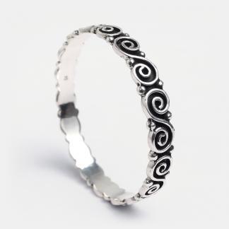 Brățară din argint cu spirale Kundalee, India