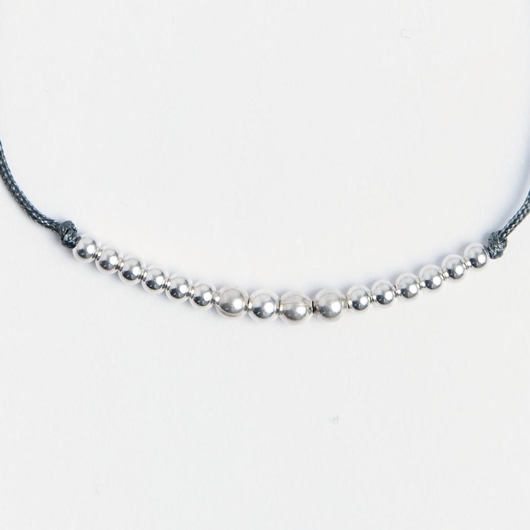 Brățară biluțe din argint și fir gri, reglabilă