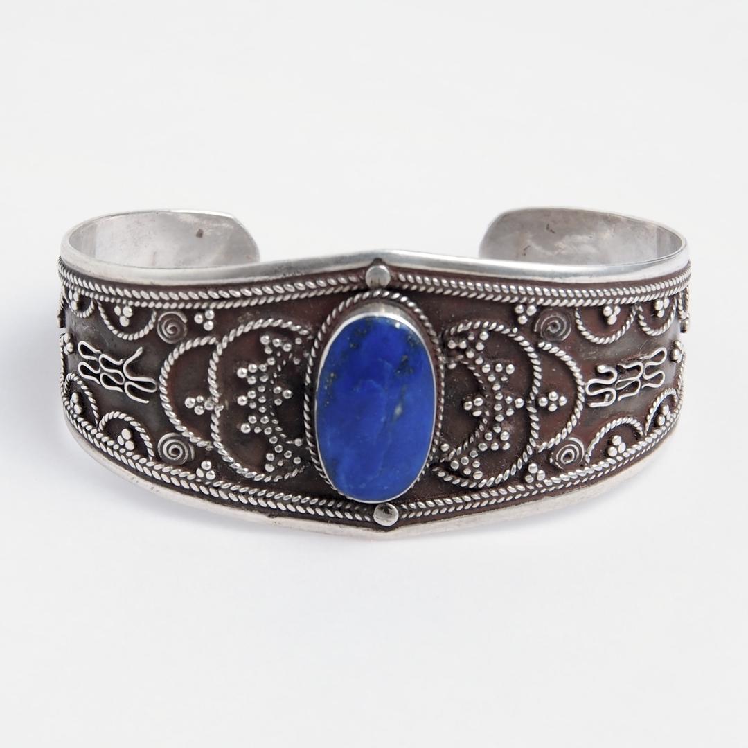 Brățară Bukhara, argint și lapis lazuli, Afganistan