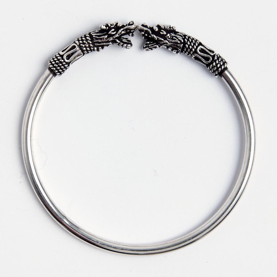 Brățară capete dragoni, argint, India