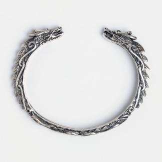 Brățară dragoni viking Jormungandr, argint patinat