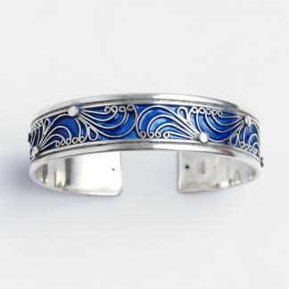Brățară Erfoud, argint și email albastru, Maroc