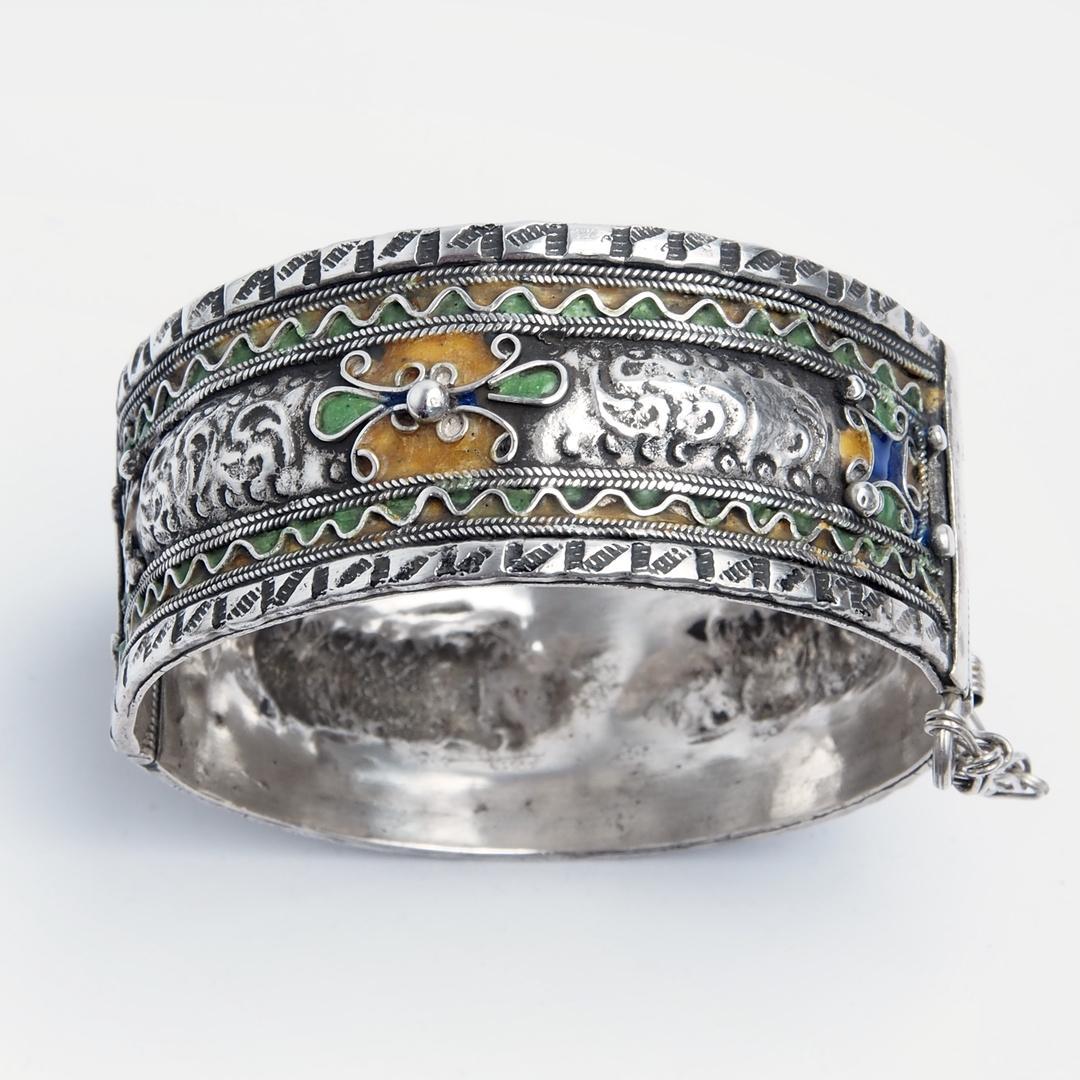 Brațară Idriss, argint și email, Maroc
