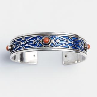 Brățară Ifran, argint, email albastru și coral, Maroc