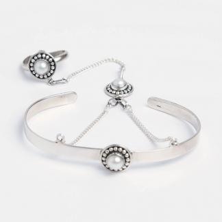 Brățară cu inel Hathphool, argint și perlă, India