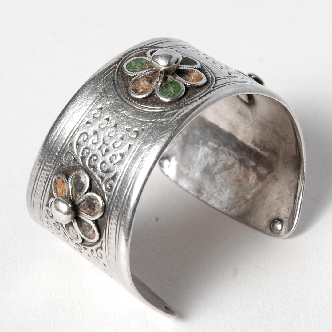 Brățară marocană azbeg, argint și email, sec. XX