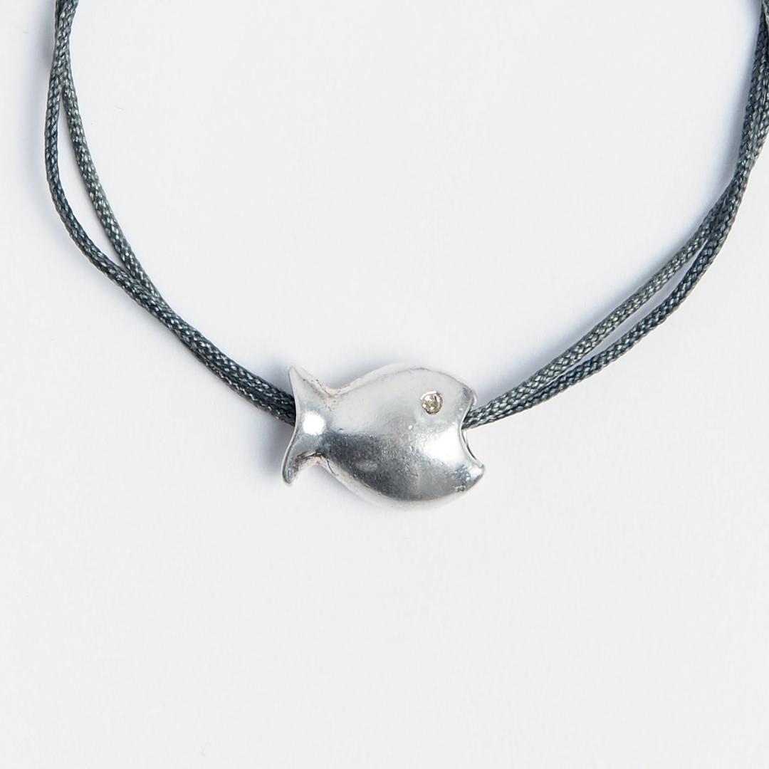 Brățară pește din argint și fir gri, reglabilă