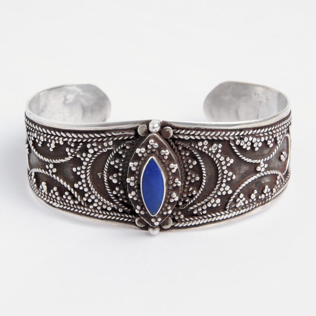 Brățară Samarkand, argint și lapis lazuli, Afganistan