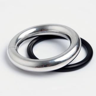 Brățară statement argint și brățară simplă abanos, India