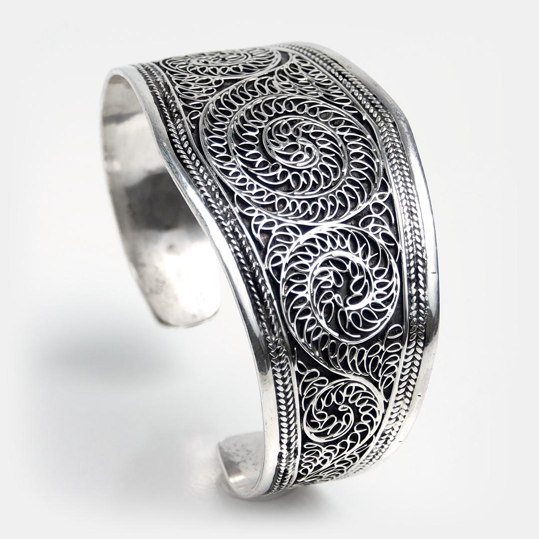 Brățară statement unicat din argint filigran Hata Khama, Nepal