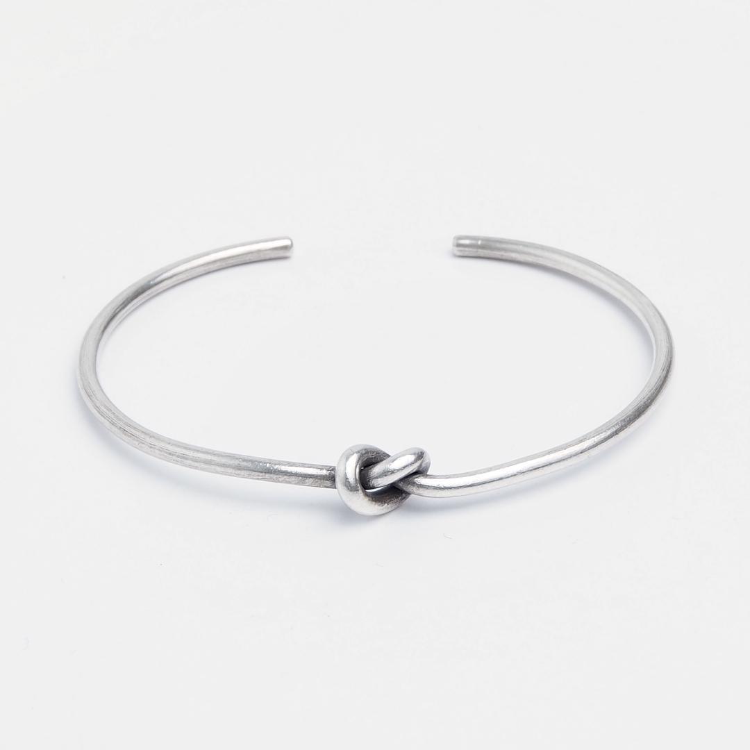 Brățară subțire Love Knot, argint patinat, Thailanda