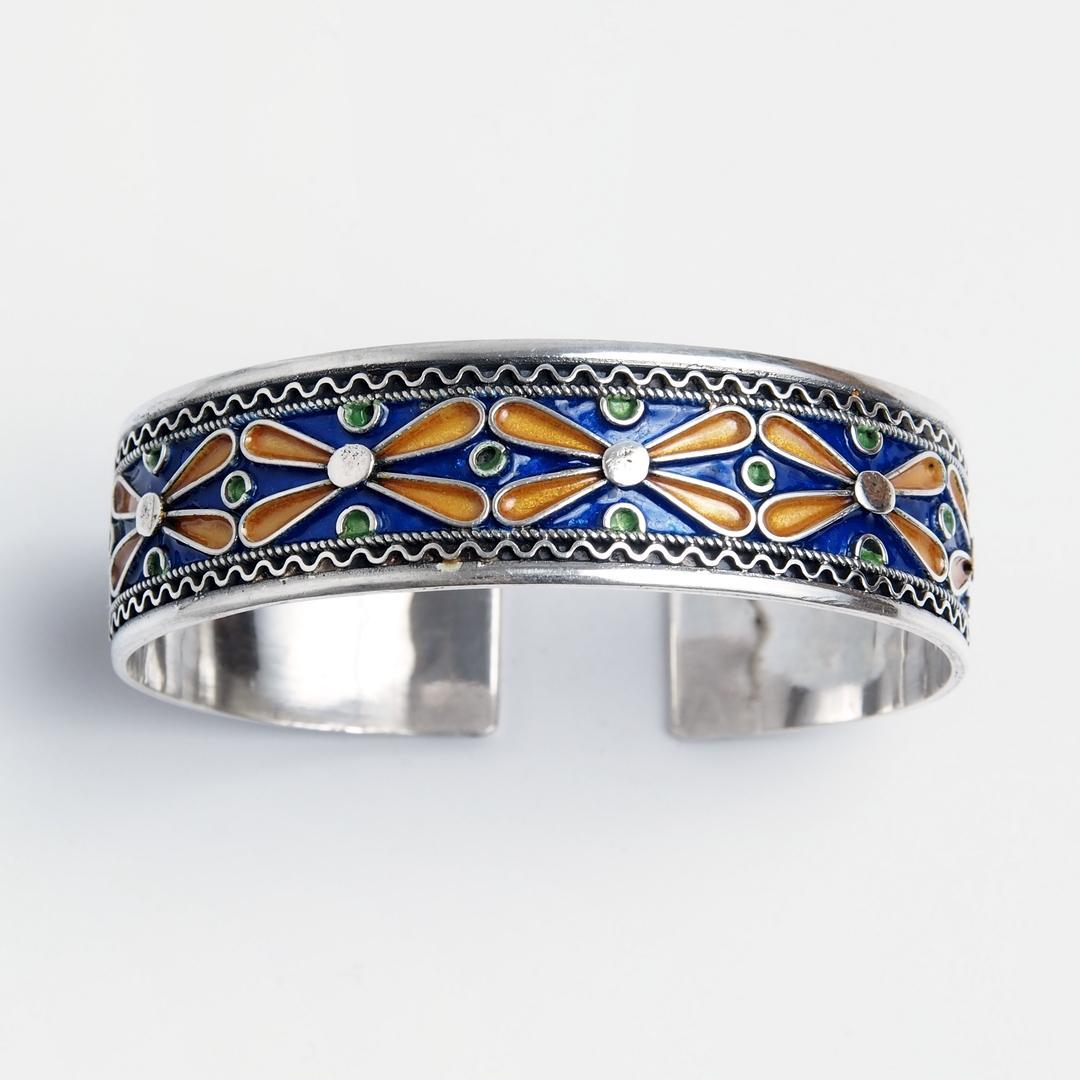 Brațară Tangier, argint și email, Maroc