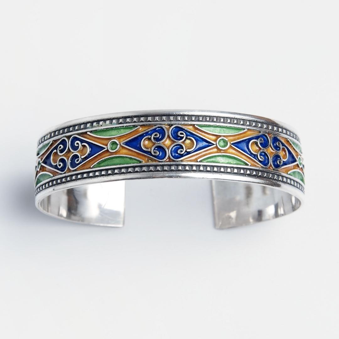 Brațară Djemaa, argint și email, Maroc