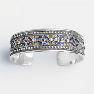 Brățară unicat Fez, argint și email, Maroc