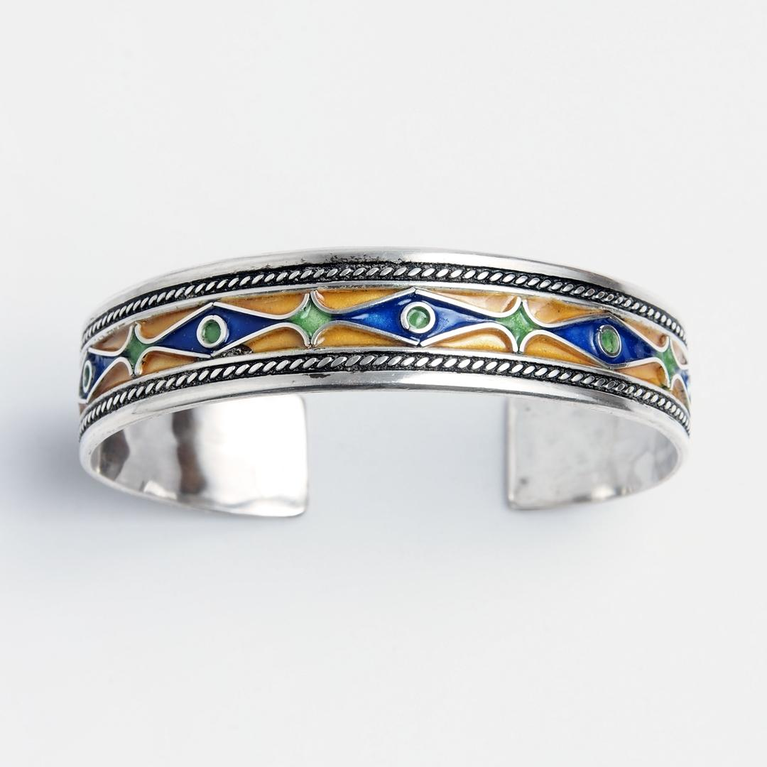 Brațară Kashba, argint și email, Maroc
