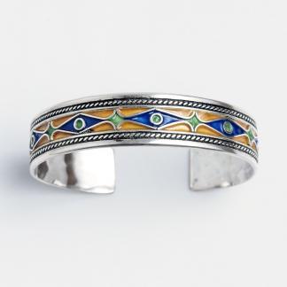Brățară unicat Kashba, argint și email, Maroc
